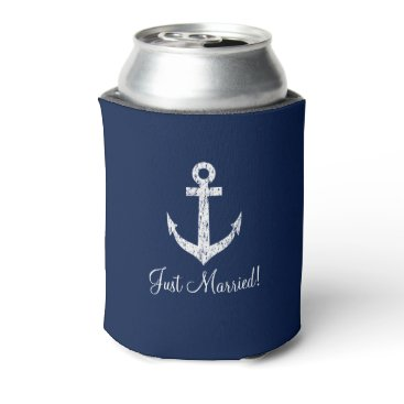 Valentines Themed Personalized nautical anchor wedding can coolers