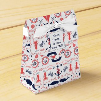 Personalized Nautical Baby One Year Old Party Favor Box