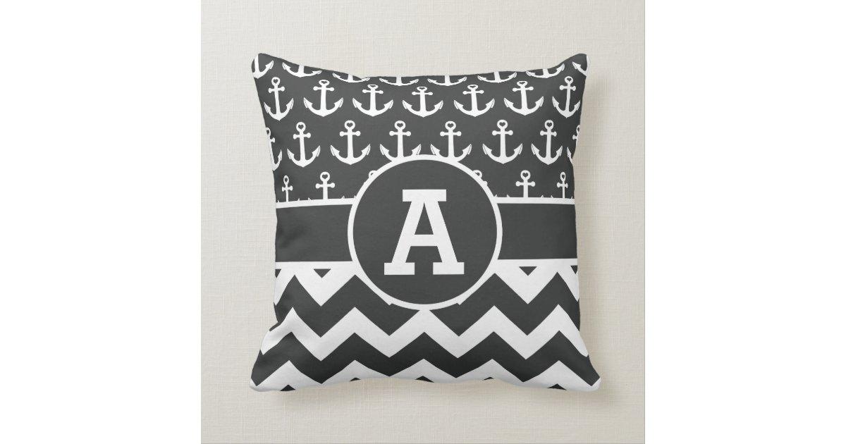Personalized Nautical Black White Chevron Anchors Throw Pillow Zazzle