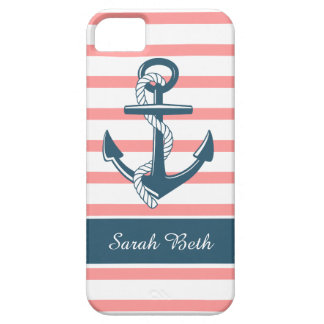 Personalized Nautical, Blue Anchor & Rose Stripes iPhone SE/5/5s Case