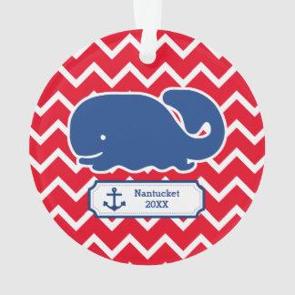 Personalized Nautical Blue Whale Anchor Chevron