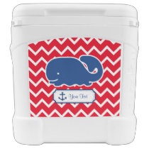 Personalized Nautical Blue Whale Anchor Chevron Cooler