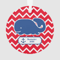 Personalized Nautical Blue Whale Anchor Chevron Ornament