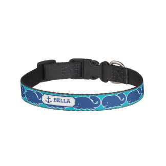 Personalized Nautical Blue Whale Anchor pattern Pet Collar