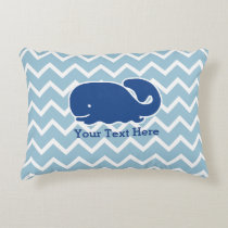 Personalized Nautical Blue Whale Chevron pattern Accent Pillow