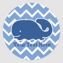 Personalized Nautical Blue Whale Chevron pattern Classic Round Sticker