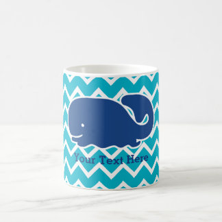 Personalized Nautical Blue Whale Chevron pattern Coffee Mug