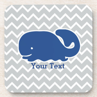 Personalized Nautical Blue Whale Chevron pattern Drink Coaster