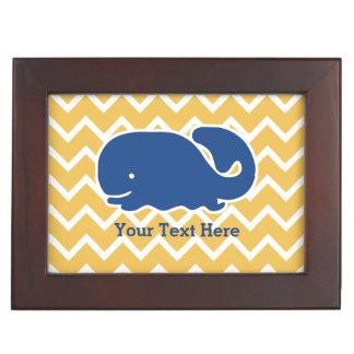Personalized Nautical Blue Whale Chevron pattern Keepsake Box