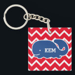 "Personalized Nautical Blue Whale Chevron pattern Keychain<br><div class=""desc"">This nautical preppy blue whale design features your text or monogram and a white chevron background with your custom color. A cute, bright, colorful and classic pattern that's perfect for a day at the beach, cottage by the ocean or nautical clothing, gifts or child&#39;s room. Personalize with your initials, name,...</div>"