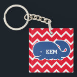 """Personalized Nautical Blue Whale Chevron pattern Keychain<br><div class=""""desc"""">This nautical preppy blue whale design features your text or monogram and a white chevron background with your custom color. A cute, bright, colorful and classic pattern that's perfect for a day at the beach, cottage by the ocean or nautical clothing, gifts or child&#39;s room. Personalize with your initials, name,...</div>"""