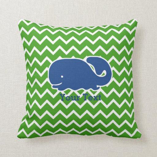 Personalized Nautical Blue Whale Chevron pattern Pillow