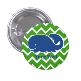 Personalized Nautical Blue Whale Chevron pattern Pinback Button