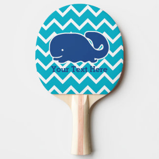 Personalized Nautical Blue Whale Chevron pattern Ping Pong Paddle