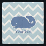 "Personalized Nautical Blue Whale Chevron pattern Stone Coaster<br><div class=""desc"">This nautical preppy blue whale design features your text or monogram and a white chevron background with your custom color. A cute, bright, colorful and classic pattern that's perfect for a day at the beach, cottage by the ocean or nautical clothing, gifts or a child&#39;s room. Personalize with your initials,...</div>"