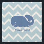 """Personalized Nautical Blue Whale Chevron pattern Stone Coaster<br><div class=""""desc"""">This nautical preppy blue whale design features your text or monogram and a white chevron background with your custom color. A cute, bright, colorful and classic pattern that's perfect for a day at the beach, cottage by the ocean or nautical clothing, gifts or a child&#39;s room. Personalize with your initials,...</div>"""