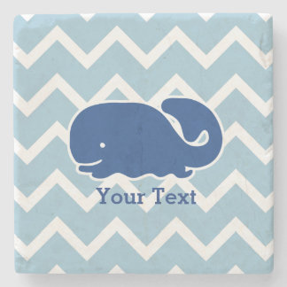 Personalized Nautical Blue Whale Chevron pattern Stone Coaster