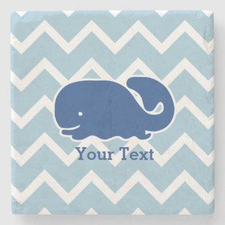 Personalized Nautical Blue Whale Chevron pattern Stone Coaster