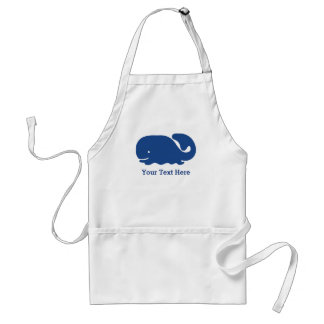 Personalized Nautical Blue Whale preppy pattern Adult Apron