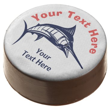 Professional Business Personalized Nautical Coral Navy Sailfish Chocolate Covered Oreo