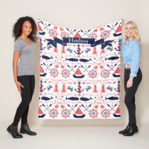 Personalized Nautical Coral Navy Whale Rope Banner Fleece Blanket