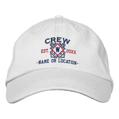 Personalized Nautical Crew Monogram & more Embroidered Baseball Hat