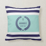 Personalized Nautical Family Crest Stripe Pattern Throw Pillow