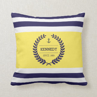 Personalized Nautical Family Emblem Stripe Pattern Throw Pillow