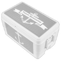 Personalized Nautical Gray Anchor Pattern Ice Chest