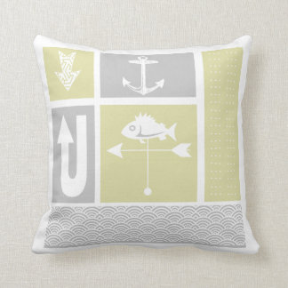 Personalized Nautical Grey Yellow Color Block Throw Pillow