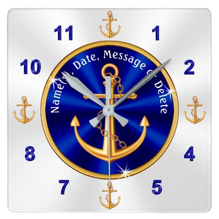 Personalized Nautical Home Decor Anchor Clock Zazzle Com