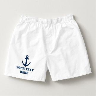 Personalized nautical navy anchor boxer shorts