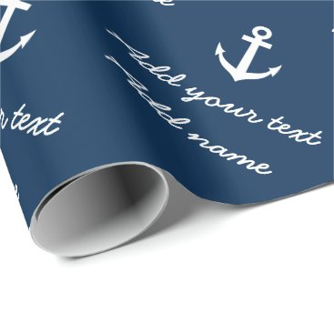 Christmas Themed Personalized nautical navy anchor wrapping paper