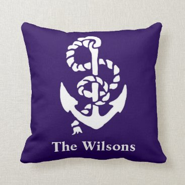 Beach Themed Personalized Nautical Navy and White Anchor Throw Pillow