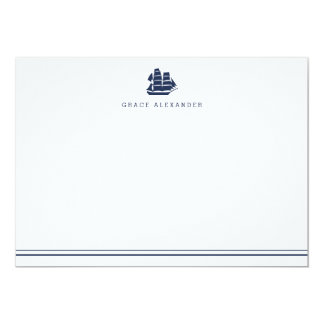 Personalized Nautical Navy and White Stationery Card