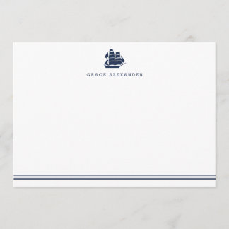 Personalized Nautical Navy and White Stationery Note Card