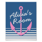Personalized nautical nursery bedroom decor poster