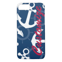 Personalized Nautical Patriotic Anchors Pattern iPhone 7 Case