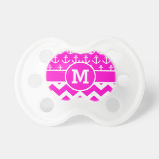 Personalized Nautical Pink Chevron Anchors Pacifier
