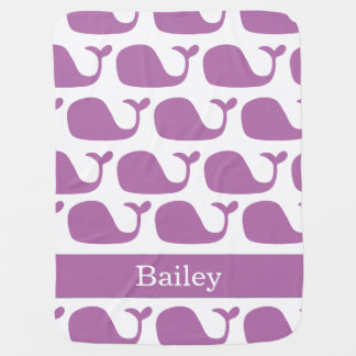 Personalized Nautical Purple Whales Baby Blanket