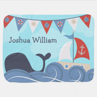 Personalized Nautical Sailboat Beach Ocean Whale Receiving Blanket