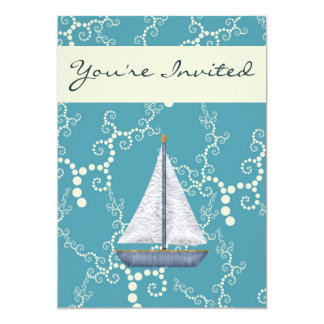 Personalized Nautical Sailboat Birthday Invitation