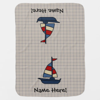 Personalized Nautical Sailboat Blue/Tan Boy's Baby Blanket