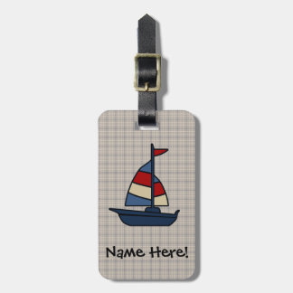 Personalized Nautical Sailboat Blue/Tan Boy's Bag Tag