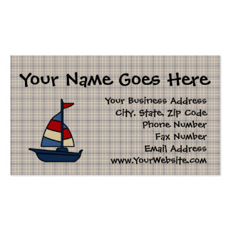 Personalized Nautical Sailboat Blue/Tan Boy's Business Card