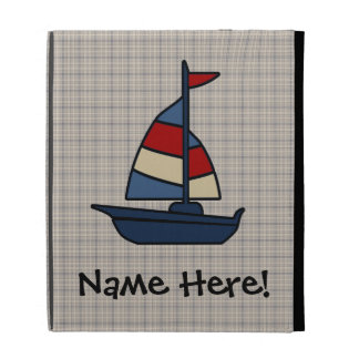 Personalized Nautical Sailboat Blue/Tan Boy's iPad Folio Case