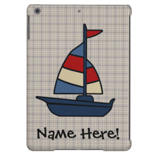 Personalized Nautical Sailboat Blue/Tan Boy's Case For iPad Air