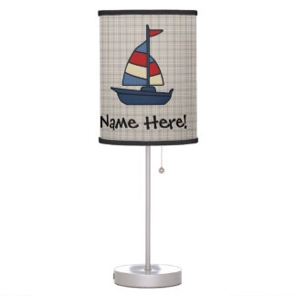 Personalized Nautical Sailboat Blue/Tan Boy's Desk Lamp