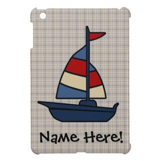 Personalized Nautical Sailboat Blue/Tan Boy's iPad Mini Case