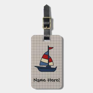 Personalized Nautical Sailboat Blue/Tan Boy's Bag Tag